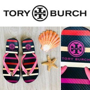 Tory Burch Signature Logo Flip Flops